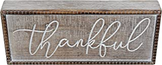 PrideCreation - 12x5 inch Double Sided Rustic Vintage Thankful Wood Box Sign, Two Sided Wooden Desk Signs Decor, Pinstriped Trimmed Farmhouse Signs Home Decor, Desk Block, Antique White/Brown