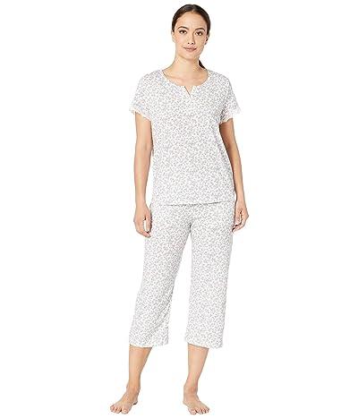 Karen Neuburger Petite Island Breeze Short Sleeve Henley Capris PJ (Ditsy Bright White) Women