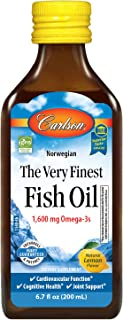 Carlson Labs Very Finest Fish Oil Nutritional Supplement, Lemon, 16.9 Fluid Ounce