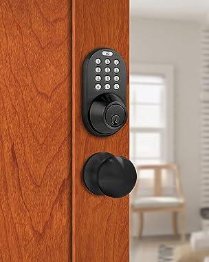 MiLocks TFK-02OB Digital Deadbolt Door Lock and Passage Lever Handle Combo with Keyless Entry via Keypad Code for Exterior Do