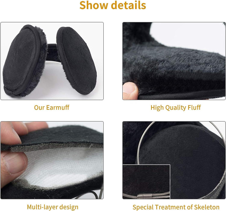 Ear Muffs for Men Women Winter Ear Warmers Behind the Head Soft Fleece Earmuffs Ear Covers for Cold Weather