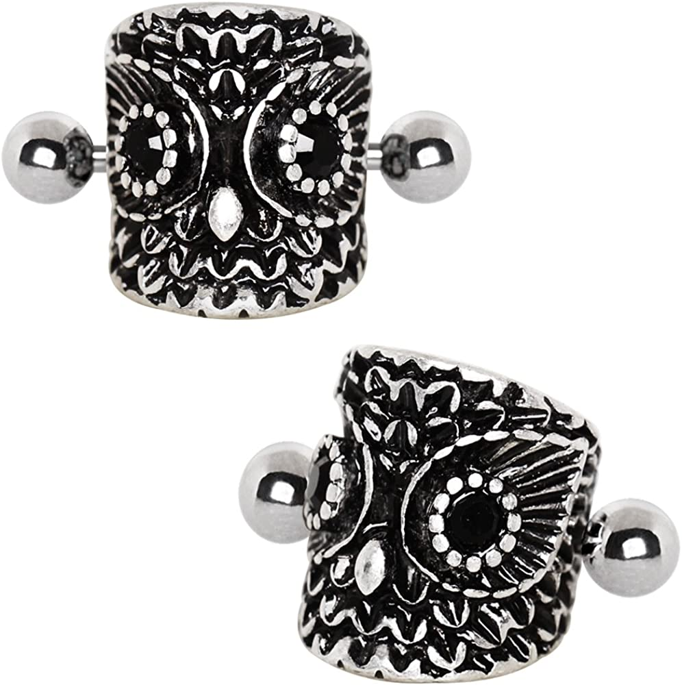 Covet Jewelry 316L Stainless Steel Forest Owl Cartilage Cuff Earring