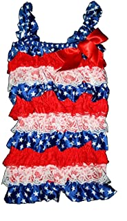 BubuBibi Lace & Satin Petti Rompers for Babies & Toddler girls-PATRIOTIC JULY 4th (X-Large)