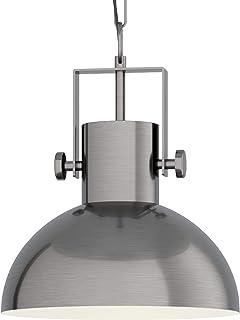 EGLO Lámpara colgante Lubenham, 1 foco, vintage, diseño industrial, retro, lámpara de techo de acero, color crema, casquillo E27, níquel mate
