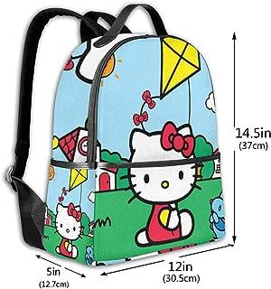 Classic School Backpack Hello Kitty Flying A Kite Unisex College Schoolbag Travel Bookbag Black