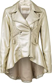 e8100e5559a Fashiomo Women s Faux Leather Biker Jacket High Low Peplum Out Coat