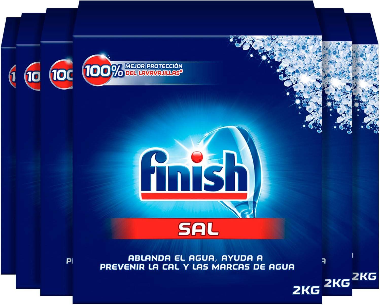 Finish Sal para Lavavajillas, Función Antical, Mayor Rendimiento del Lavaplatos - Pack de 6, Total 12 kg