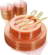 NERVURE 175PCS Pink with Gold Rim Disposable Plastic Plates Set: 25 Dinner Plates,25 Dessert Plates, 25 Forks,25 Knives, 25 Spoons, 25 Cups,25 Napkins.