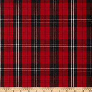Carr Textile Polyester Uniform Plaid/Black/White Poplin Fabric by The Yard, Red