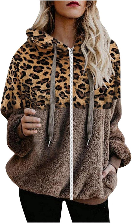 Eoailr Womens Full Zip Up Sherpa Hoodie Fuzzy Fleece Jacket Colo