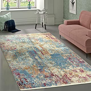 Paco Home Alfombra Diseño Vintage Abstracto Azul Crema Rosa