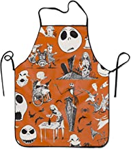 Ikionier Cooking Apron Kitchen Apron for Women Men Chef, Nightmare Before Christmas Halloween Lock Edge Waterproof Durable String Adjustable Easy Care Aprons