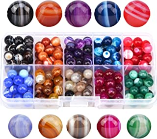 200pcs 10 Colors Agate Beads Mixed 8mm Round Genuine Real Stone Beading Loose Gemstone Hole Size 1.3mm DIY Charm Smooth Beads for Bracelet Necklace Earrings Jewelry Making (Stripe Beads Mix 200pcs)