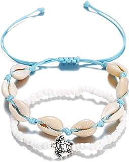 Filluck Cowrie Shell Anklet Bracelet Turquoises Shell Bracelet Handmade Adjustable Boho Beach Jewelry Set for Women Girls