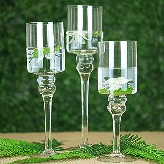 Efavormart Set of 3 Clear Long Stem Glass Cylinder Flower Vase Tabletop Candle Holders