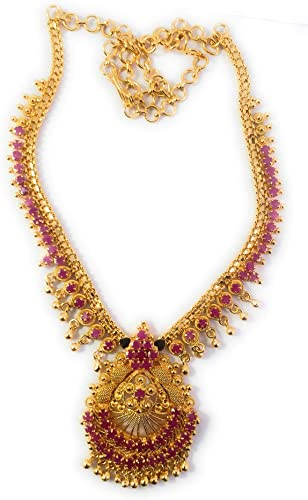1 Gram Micro Gold Plated Traditional Designer Fashion Jewellery Ruby Stone Necklace for Women Girls LCT NEC3023
