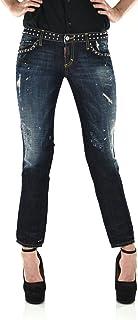 DSQUARED2 Slim Cropped Jean Mujer Azul Logo 5 Bolsillos Tachuelas Algodón Botones