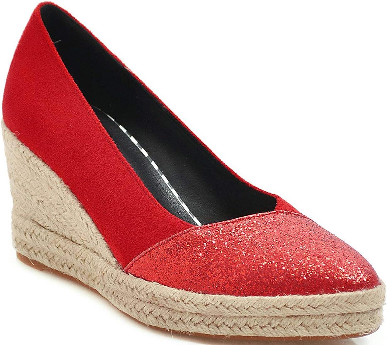 U-lite Women's 8cm Light Weight Elegant Style Slip on Espadrilles Wedges Pump Loafers
