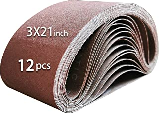 Ur-Excellent Sanding Belt Pack 3-Inch x 21-Inch,12 Pcs(4 Each of 80 120 150 Grits) Aluminum Oxide for Sander (3 x 21 in)