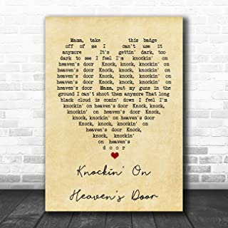 Knockin' On Heaven's Door Vintage Heart Quote Song Lyric Art Music Quote Gift Poster Print