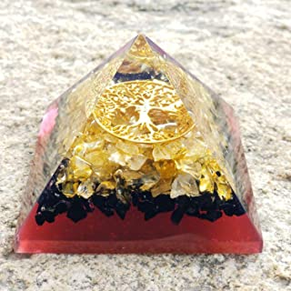 Orgone Citrine and Black Tourmaline Pyramid with The Tree of Life Symbol | Orgonite Energy Generator Infused By the Reiki Energy | Protects and Heals on All Spiritual and Physical Levels
