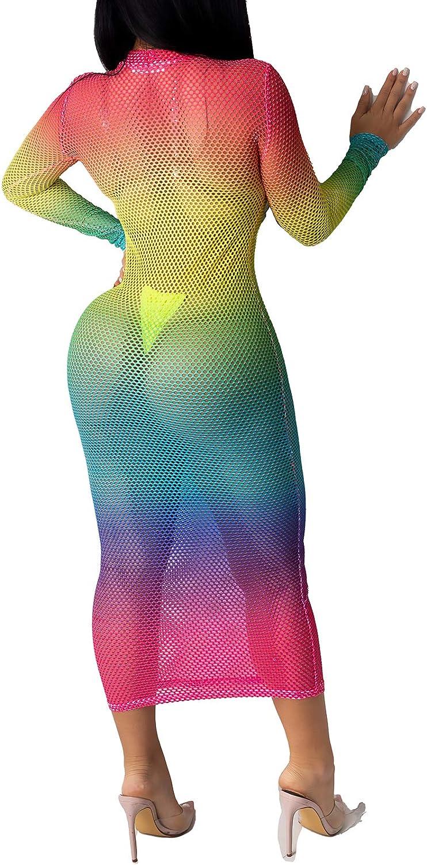 Women's Sheer Mesh Long Sleeve Bodycon Dress Club Night Out Dresses Beach Cover Up Dress