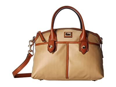Dooney & Bourke Camden Domed Satchel (Natural/Dark Chocolate Trim) Satchel Handbags
