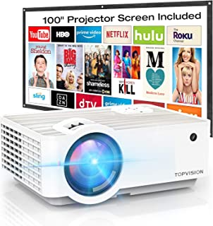 """Video Projector, TOPVISION 4500Lux Portable Mini Projector with 100"""" Projector Screen, 1080P Supported, Built in HI-FI Speakers, Compatible with Fire Stick, HDMI, VGA, USB, TF, AV, PS4"""