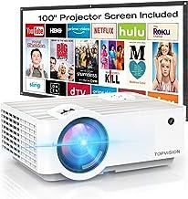 Video Projector, TOPVISION 4500L Portable Mini Projector...