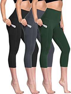 Neleus Women's Yoga Capris Tummy Control High Waist Workout Pants