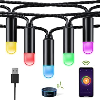 Smart LED Outdoor String Lights, WiFi RGB Color Changing Christmas String Lights Waterproof with APP, Support Alexa/Google Home, 38Ft 40LED Decorative Lights for Patio Party Wedding Christmas Tree,USB