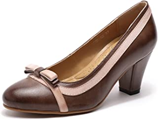 Mona flying Womens Leather Wedge Pumps Dress Shoes High Heels Med Heel Round Toe Formal Office Shoes for Women Ladies