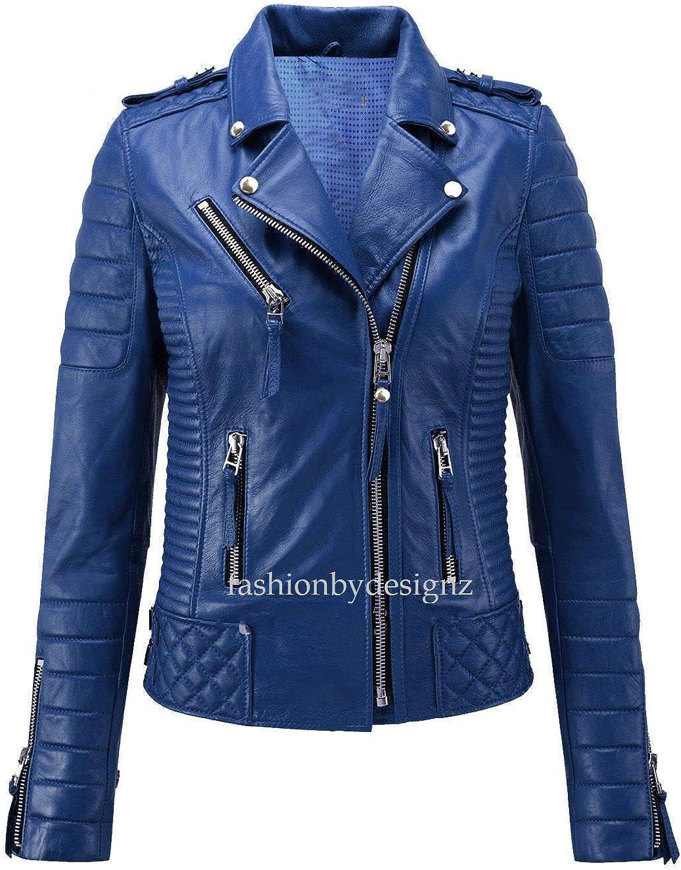 Alishbah Women's Leather Jacket Stylish Motorcycle Biker Genuine Lambskin WJ287
