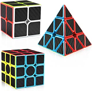 D-FantiX Carbon Fiber 2x2 3x3 Pyraminx Speed Cube Bundle, Magic Cube Puzzle Toys for Kids