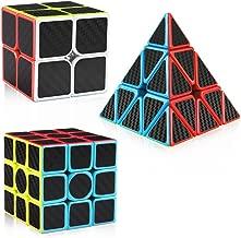 D-FantiX Carbon Fiber 2x2 3x3 Pyraminx Speed Cube Bundle, Magic Cube Puzzle Toys for Kids