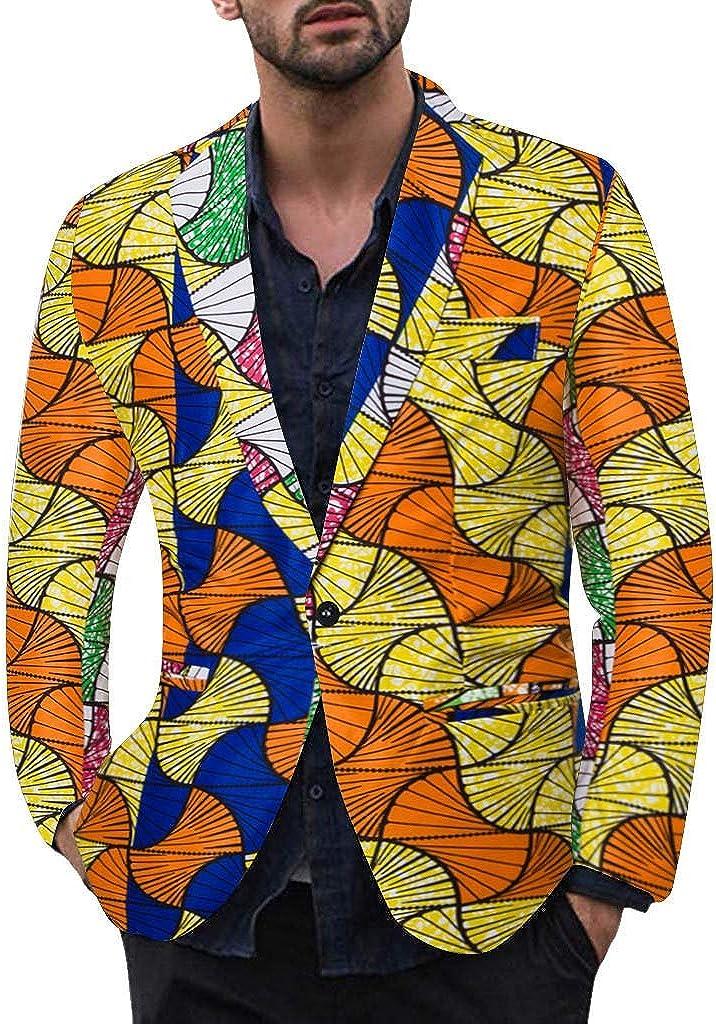 Blazers for Men Casual Vintage Turn-Down Collar Long Sleeve Print Floral Blazer Coat Jacket