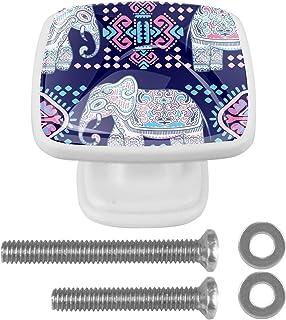 Paquet de 4 boutons d'armoire de cuisine, boutons pour tiroirs de commode Éléphant d'animal ethnique africain Tire les poi...