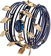 Leather Wrap Bracelet Turn into Necklace, Dark Blue with Swarovski Crystal 24 Karat Gold Plated Handmade by SEA-Smadar