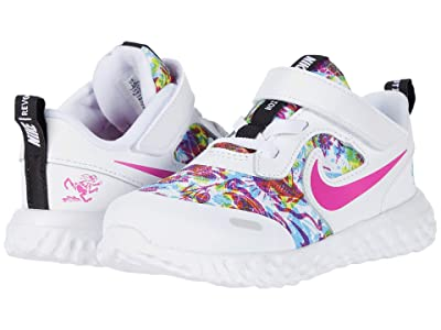 Nike Kids Revolution 5 Fable (Infant/Toddler) (White/White/Fire Pink/Blue Fury) Girl