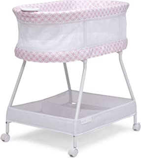 Delta Children Sweet Dreams Bassinet with Airflow Mesh - Bedside Portable Crib with Vibration, Lights and Music, Pink Infi...