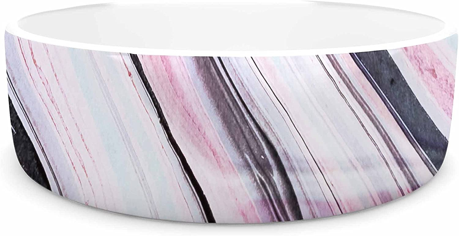 KESS InHouse Mmartabc Abstract Marble Pink Multicolor Pink Digital Pet Bowl, 7  Diameter