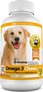 Amazing Omega 3 for Dogs - Dog Fish Oil Supplement - Allergy Itch Relief, Shiny Coat, Joint and Brain Health - 120 Bacon F...