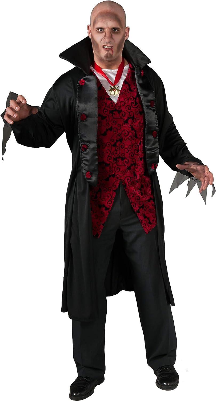 Generique - Vampirkostüm mit Mantel für Herren schwarz-rot Plus Größe XXL
