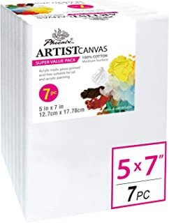 PHOENIX Pre Stretched Canvas for Painting - 5x7 Inch / 7 Pack - 5/8 Inch Profile of Super Value Pack for Oil & Acrylic Paint