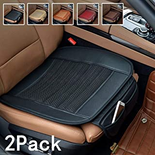 Suninbox Car Seat Covers,2 Pack Universal Auto Seat Covers,[Bamboo Charcoal] Leather Bottom Car Seat Pads Cushions,Auto Seat Protector[2 Pack Black Front Seats]