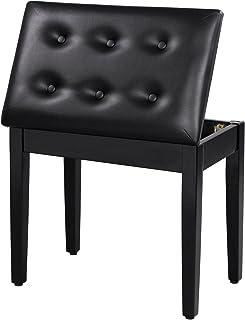 SONGMICS 加垫木制钢琴凳,带音乐存储ULPB55H