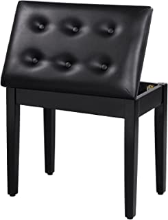 SONGMICS Padded Wooden Piano Bench Stool with Music Storage Black ULPB55H