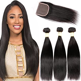 Goldfinch Hair Brazilian Virgin Straight Hair Weave 3 Bundles with 1 Piece Closure 100% Unprocessed Human Hair Extensions With Brazilian Lace Closure(22