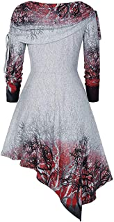SHUSUEN Women's Halloween Costumes Ugly Christmas Sweater for Women Long Sleeve Color Dyed Tie Tunics High Low Hem Tops
