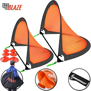 Trailblaze Pop Up Soccer Goals Set - 2 Portable Foldable Kids Soccer Nets w/ 8 Training Disc Cones Extra Pegs + Carry Case - Perfect Youth Soccer Goals for Backyard Extra-Strong Soccer Goal Net